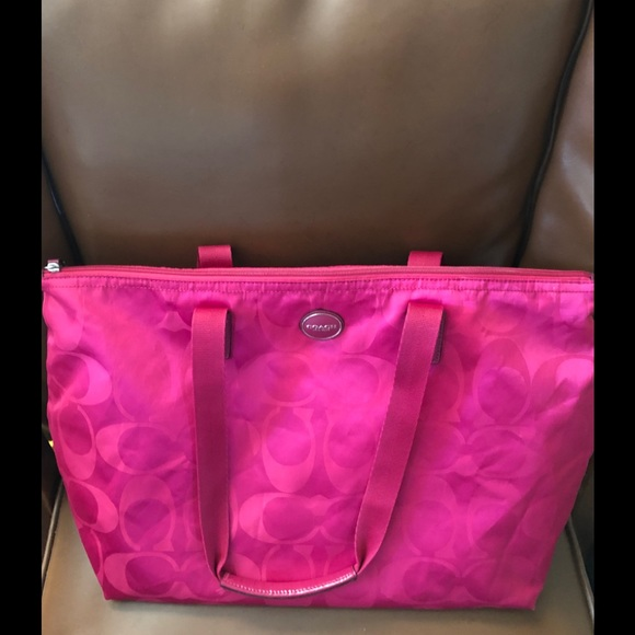 Coach Handbags - Coach bright pink purse with snap in smaller bag